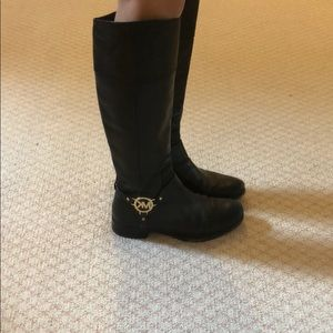 Michael Kors Black Leather Boots with Gold Emblem